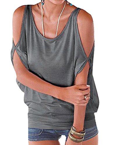 Mangotree Oberteile Kurzarm Batwing T-Shirt Tops Damen Schulterfreies Bluse Tunika Tanktop (L: 38/40, Grau) (Tunika Top)