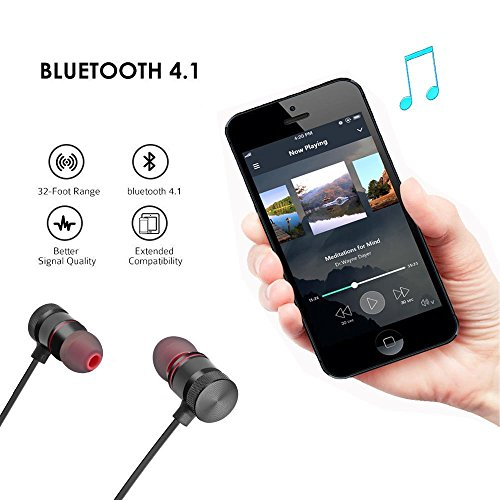 LUZWE Bluetooth Earphone Wireless Headphones Sports Stereo Music Working; Gym Exercise Use Bluetooth Headset Compatible with All Smartphones Image 2