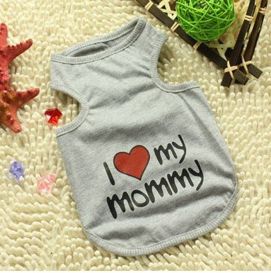 "Namsan Puppy Été T-shirt ""I Love My Mommy"" Cat chien mignon vêtements Extra Large, Gris"