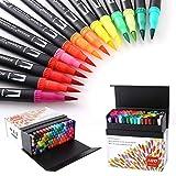100 Farben Dual Tip Brush und Pens (ungiftig, geruchlos) mit Fineliner Tip 0.4 (Journal HO-100B)