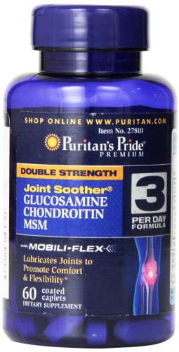 Puritan's Pride Double Strength Joint Soother Glucosamine Chondroitin MSM Coated Caplets, 60 Count by Puritan's Pride (English Manual)
