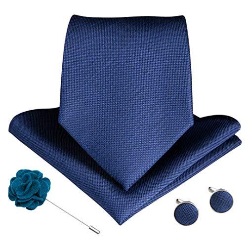 15 Styles Blue Teal Herren Krawatte Manschettenknöpfe Brosche Set Seide Männer Krawatte 8 Cm Breite Krawatten Ldnx0089