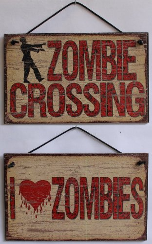 5x 8Vintage Stil Schilder (2er Pack) Sagen,I Love Zombies undZombie Crossing Dekorative Fun Universal Haushalts-Zeichen von Egbert 's (Dawn Of The Dead Halloween Kostüme)