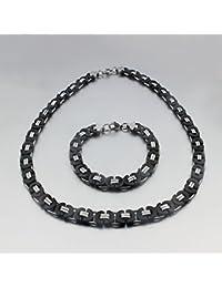 AnaZoz Joyería de Moda Negro y Plata Collar + Pulsera Juegos Chunky Acero Inoxidable