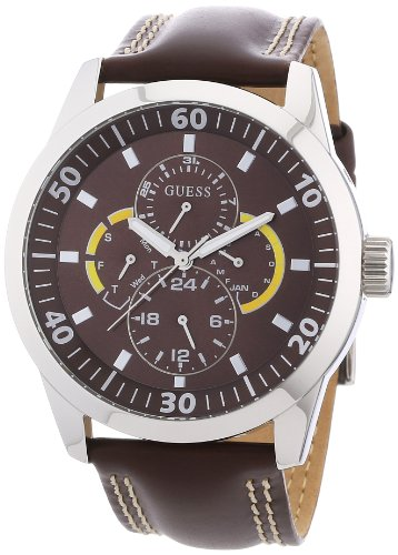 Guess Gents Brown Leather Strap Watch With Mocha Multi Fuction Dial