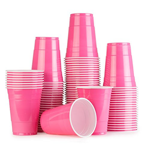 Pink Cups 100 Pack Rosa bechern - Beer Pong American Party tassen Original 500 ml - mehrere Farben - Student & Geburtstag | 16oz Große Plastik becher Trink Glas Einweg geschirr | Red Celebration -