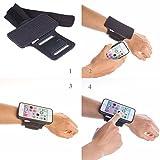 TFY iPhone 5/5(S) Offen-Gesicht Sport Armbinde + abnehmbar Kunststoffgehäuse-(Open-Gesicht - Direktzugriff,berühren Bildschirm)(iPhone 5/5S, Kunststoffgehäuse Farbe:schwarz/Gurt Farbe:schwarz)