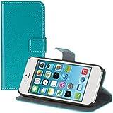 kwmobile Hülle für Apple iPhone SE / 5 / 5S - Wallet Case Handy Schutzhülle Kunstleder - Handycover Klapphülle mit Kartenfach und Ständer Türkis