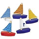 10 Mini Segelboote aus Holz Segelschiffe für Badewanne Pool oder als Mitgebsel