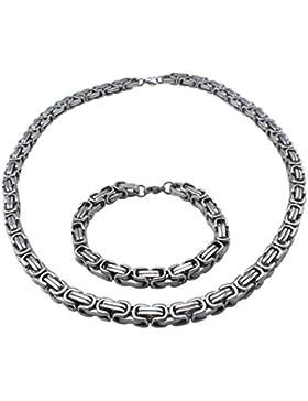 AMDXD Juwelier Herren Schmuck Set,Edelstahl Halskette & Armband Panzerkette Panzerarmband Silber Kette