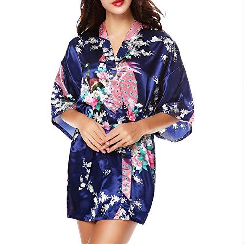 Noradtjcca Komfortable Frauen Schlaf Kleid Pfau mit Blumenmuster Satin Robe Sexy Silk Sleepwear Dessous Sleep Schlafanzug (Silk-roben Sexy)