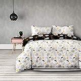 AmeliaHome 06488 2tlg Biber Bettwäsche 135x200 cm mit 1 Kopfkissenbezug 80x80 cm 100% Baumwolle Blumenmuster Bettbezug Reißverschluss Snuggy Collection Floral Rain weiß schwarz gelb