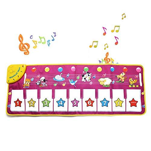 Queta tappetino musicale, danza tappetino piano tastiera tappeto animale coperta toccare elettronico piano gioca a mat per bambini di 3-6 anni, bambino educazione precoce giocattoli