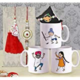 TIED RIBBONS Rakhi Bhaiya Bhabhi Set Ethnic Rajasthani Lumba Rakhi For Bhaiya Bhabhi With Gift Set(1 Lumba Rakhi Pair,1 Kids Rakhi For Bhatija,3 Printed Coffee Mugs, Roli Chawal) - Rakhi For Bhai And Bhabhi