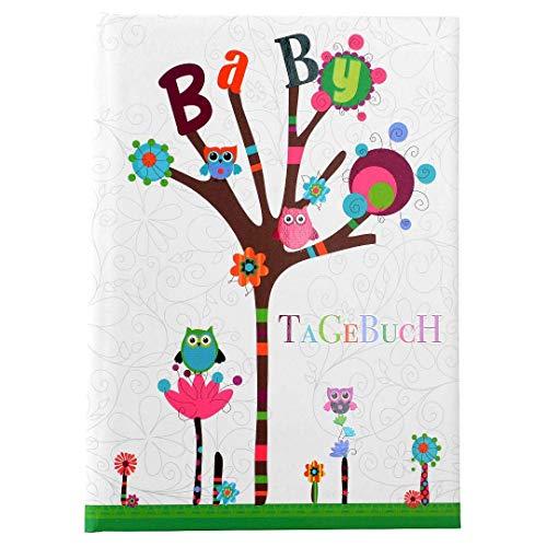 Goldbuch Babytagebuch, Kleine Eule, 21 x 28 cm, 44 illustrierte Seiten mit Pergamin-Trennblättern, Kunstdruck mit UV-Lack, Weiß, 11010