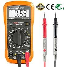 Multímetro Digital Aidbucks PM8233B polimetro AC/DC tester electrico con Resistencia Capacitancia Tester Frecuencia Multi Tester con DMM voltímetro, amperímetro, ohmímetro con retroiluminación LCD