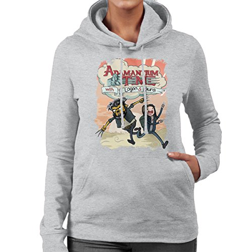 Logan Adventure Time Mashup Adamantium Time Background Women's Hooded Sweatshirt Heather Grey
