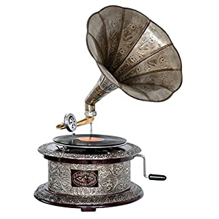 Antique style gramophone complete with horn round decorative wooden base