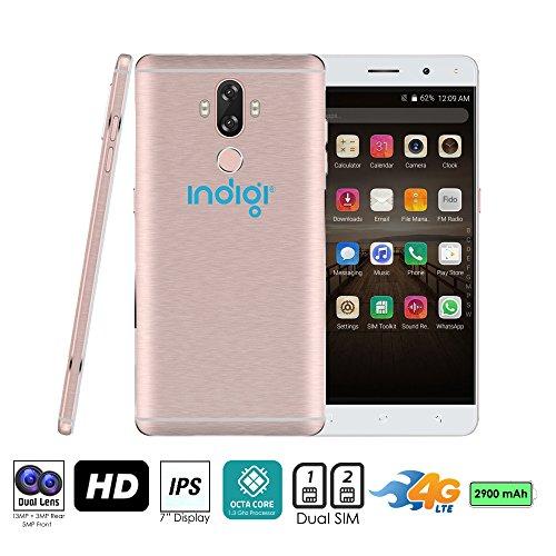 Indigi® entsperrt 4G LTE 6Android 7.0nougat Smartphone Octacore @ 1,3GHz (Fingerabdruck Scan + 13MP Cam + Dual Sim Slots + Bluetooth 4.0) (Rose Gold) Entsperrt Handys Tracfone