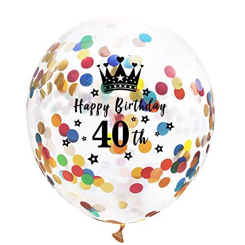 Zoll Farbe Konfetti Krone transparente Pailletten Ballons Party Schriftzug Ballon für Geburtstagsfeier Hochzeit Party Deko Size 40th ()