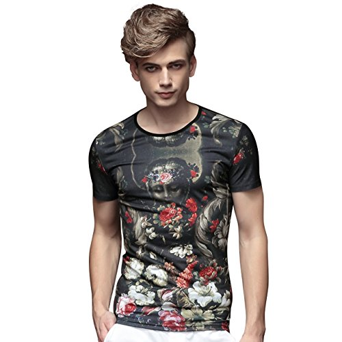FANZHUAN Herren T-Shirt Blumen Retro Aufdruck Stretch Slim Casual Kurzarm, Multicoloured, 5XL