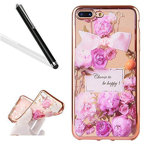 Preisvergleich Produktbild iPhone 7 Plus Silikon Handy Hülle,Leeook Elegant Retro Floral Schön Lila Rose Blume Crystal Soft Clear Case Electroplate Plating Rose Gold Frame Scratch-Resistant Bumper Soft Rückseite Cover Tasche Ultradünne Galvanisiergeräte Weicher Gel TPU Tasche Schutzhülle Hülle Tasche für Apple iPhone 7 Plus (5.5 Zoll) + 1 x Schwarz Eingabestift-Purple Rose Flower