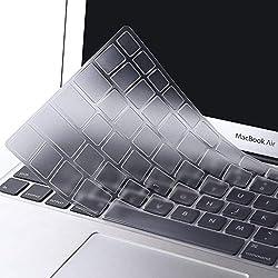 MOSISO AZERTY Protection Clavier Compatible MacBook Air 13 Pouces 2018 A1932 avec Retina Affichage & Touch ID, Ultra-Fine Doux Premium TPU Protège Clavier, Transparent
