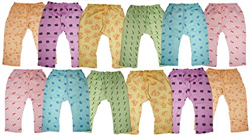 Kids Boys Girls Cotton Diaper Fit Pyjama Bottom Wear Pants Pack of 12