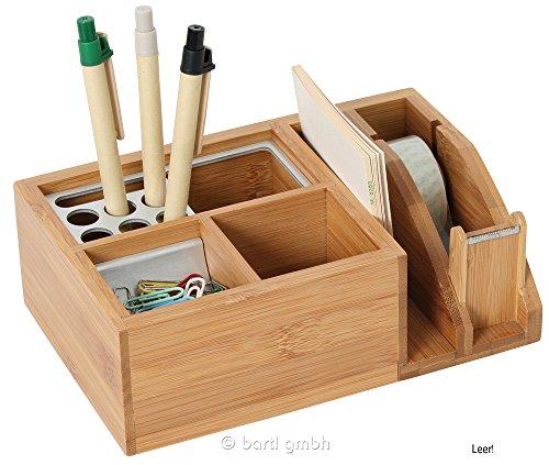 Schreibtischständer mit Klebefilm-Abroller aus Bambus/Alu, Multifunktions Schreibtischorganizer aus Holz mit Stiftköcher, Notizhalter und Klebestreifen Abroller, für jeden Schreibtisch geeignet, von Bartl Office-Line-Bambus