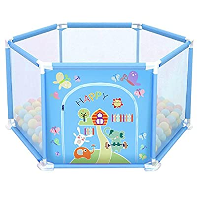 deAO Baby Ball Pit Safety Playpen Gate Set with Balls Included for Babies and Toddler