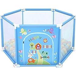 deAO Parc pour bébé et Terrain de Jeu de 50 balles colorées à l'intérieur (hexagone Bleu)