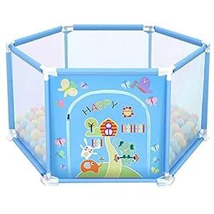 deAO Parc pour Bébé et Petits Enfants Aire de Jeux Bébé Gym Comprend des Balles de Couleurs (Hexagone Bleu)