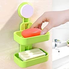 PHDstore Double Layer Soap Box Suction Cup Holder Rack Bathroom Shower Soap Dish Hanging Tray Wall Holder Storage Holders