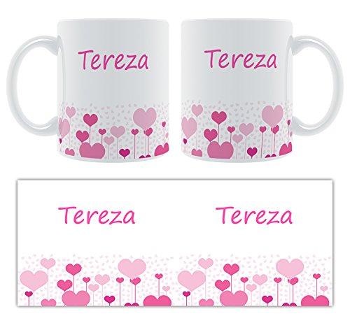 Tereza – Motif cœurs – Femelle Nom personnalisable Mug en céramique
