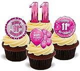 11. Geburtstags Mädchen Rosa Mix - 12 essbare Standup Kuchen-Deko, Kuchendekorationen, essbar, Premium, 2 x A5, für 12 Bilder