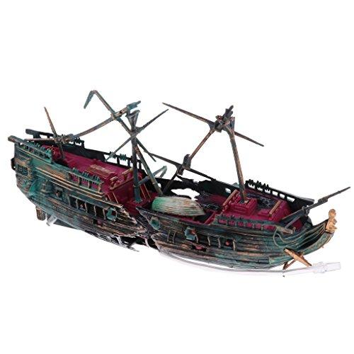 D Dolity Aquarium Ornamente Schiff Wrack Fish Tank Dekoration - Farbe 1