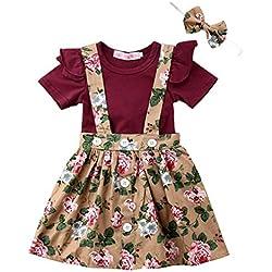 EDOTON T-Shirt Sangle Robe de Petite Fille Printemps Automne Robe à Manches Longues Robe Ébouriffer Haut Salopette Plaid Jupe Ensemble 1-5 Ans (2-3 Ans) (12-18 Mois, Kaki et vin Rouge)