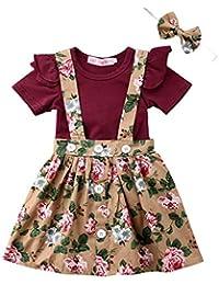 c7b2bbc7f Baby T-Shirt Strap Dress Christmas Outfits 2Pcs/Set Toddler Girl Long/Short  Sleeve Ruffle Top Overalls Plaid Skirt…