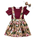 Baby T-Shirt Strap Kleid Weihnachten Outfits 2 Teile/Satz Kleinkind Mädchen Langarm Rüschen Top Overall Plaid Rock Kleidung Set (3-4 Jahre) (18-24 Monate, Khaki & Weinrot)