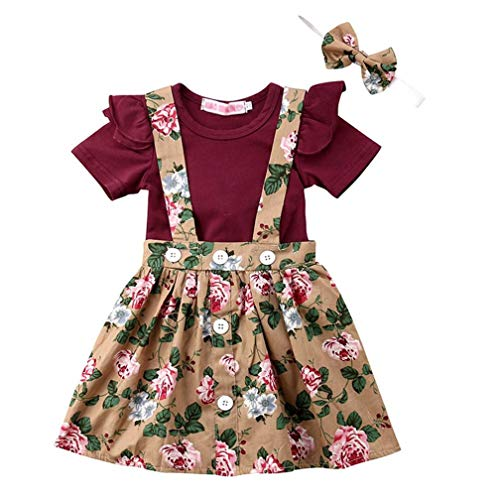 Baby T-Shirt Strap Dress Christmas Outfits 2Pcs/Set Toddler Girl Long/Short Sleeve Ruffle Top Overalls Plaid Skirt Clothes Set (18-24 Months, Khaki & Wine red)