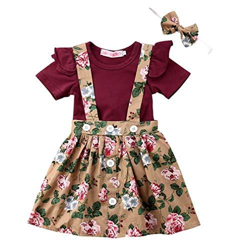 Baby T-Shirt Strap Kleid Weihnachten Outfits 2 Teile/Satz Kleinkind Mädchen Langarm Rüschen Top Overall Plaid Rock Kleidung Set (3-4 Jahre) (12-18 Monate, Khaki & Weinrot) (Baby Mädchen Kleidung Plaid)