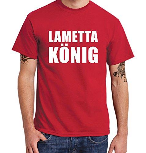 ::: LAMETTAKÖNIG ::: T-Shirt Herren Rot mit weißem Aufdruck