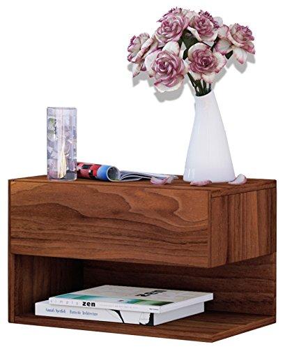 VCM Wand Nachttisch Nachtschrank Beistelltisch Tisch Nacht Kommode Konsole Holz kern-nussbaum 30x46x30 cm 'Dormal'