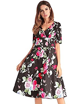 Mujeres cuello en V profundo de manga corta de cintura alta Swing Midi Skirt elegante floral Colormatch cremallera...