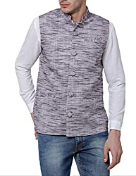 Svanik Bluish Grey Cotton Solid Ethnic Jacket