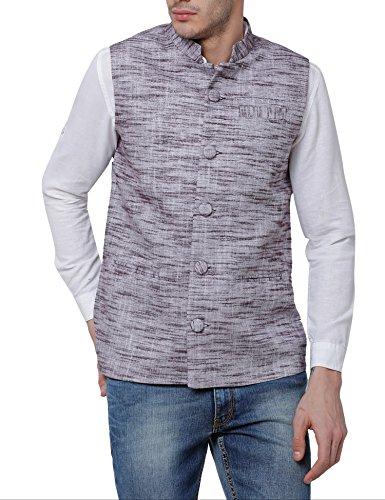 Svanik Bluish Grey Cotton Solid Ethnic Jacket