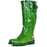 Flat Festival Wellies Rain Boots Green - Size 4UK
