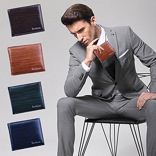 JERFER Männer Bifold Geschäfts-Leder-Mappe Identifikation-Kreditkarte-Halter-Geldbeutel-Taschen Kaffee