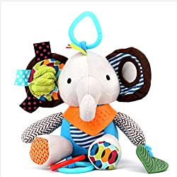 H Cadeau Multifonction Peluche Jouet d'activés d'eveil Poussette Lit Berceau de Nouveau-né Bébé Fille Garçon Premier âge (Eléphant)