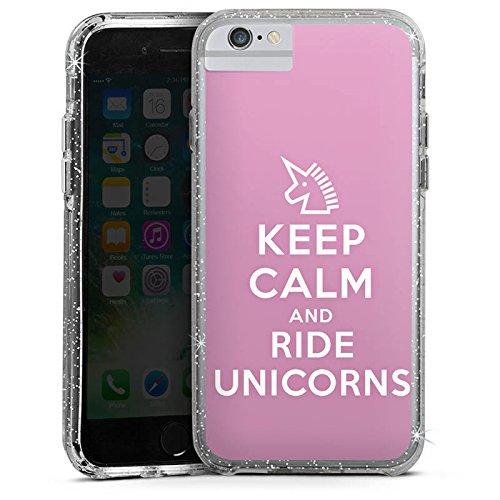 Apple iPhone 7 Bumper Hülle Bumper Case Glitzer Hülle Einhorn Unicorn Sprüche Geschenk Bumper Case Glitzer silber